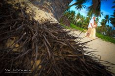 valdorama.com, Artistic Beach Afterglow / Post wedding photo session, Majestic Elegance, Punta Cana, Dominican Republic, palm tree, roots, sand, newlyweds, couple