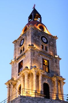MEDIEVAL CLOCK TOWER RHODES OLD TOWN A great landmark in the beautiful medieval town of Rhodes, also its highest point, a nice walk up the steps if you want to prove you're fit! It is worth it. The view from above is stunning. Originally byzantine. So if you are coming to Rhodes…visit here for a few steps to hike…