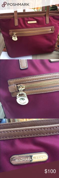 NWOT Michael Kos Tote Burgundy with gold accents. Michael Kors Bags Totes