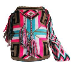 Buy Wayuu Bags Online-Colombian Bags Retailers and Wholesalers-Suscribe and Get 3 FREE Wayuu Bracelets with your first purchase! Light Pink Color, Dark Brown Color, Turquoise Color, Beautiful Crochet, Electric Blue, Online Bags, Handmade Bags, Psychedelic, Pink Blue
