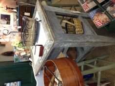 Fabulous old barn wood bar table or kitchen square island with marble insert! Available at the BoneYard in newnan ga! Visit the redneck designers !!
