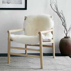 leather & fur sling chair