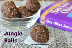 Jungle Balls (buckwheat groats, dates, carob, currants, vanilla, hemp seeds, and raisins.)