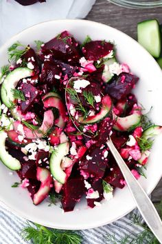 This Beet Salad with Feta, Cucumbers, and Dill takes only 10 minutes to make and is packed with sweet, salty, and tangy flavors. You can use roasted or canned beets for this easy vegetarian side. via minus the feta Healthy Snacks, Healthy Eating, Healthy Recipes, Recipes With Feta, Feta Cheese Recipes, Beet Salad Recipes, Healthy Life, Beetroot Recipes, Yummy Veggie
