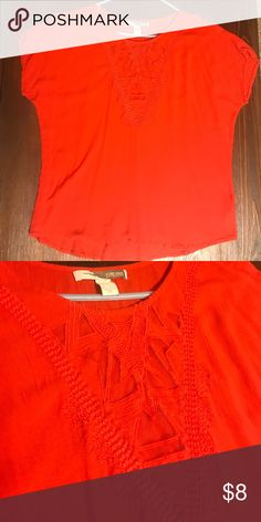 Forever 21 Top Forever 21 Coral top. Front design is partly mesh and see through. Only worn a couple of times. Size XS fits like a S. Forever 21 Tops Blouses