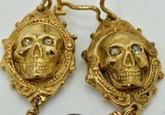 WOW! 18th Century Georgian 18k Gold&Diamonds Memento Mori Skull earrings set