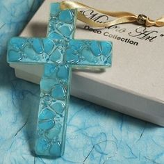 Murano Blue Pebble Glass Cross