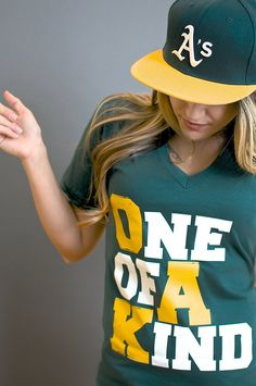 6852e8b8 Loyal roots The OAK Women's V-Neck one of a kind tshirt tees green yellow  baseball Oakland