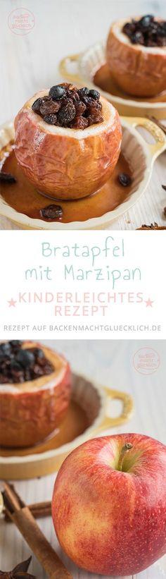 Unsere liebste Bratapfel-Variante mit Marzipan und Rosinen. Das Bratapfel-Rezept für den Backofen ist kinderleicht - und wunderbar abzuwandeln. Als Füllung für die klassischen Bratäpfel eignen sich auch gehackte, geröstete Mandeln bzw. Nüsse sowie getrocknete Kirschen oder Cranberrys.