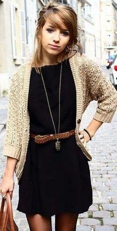 black dress, knit cardigan, boots