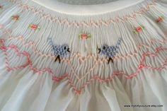 smocked lovebirds handmade white dress