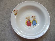 stunning vintage PINKY AND PERKY pigs childs china dish/bowl,nursery ware.VGC