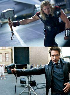 The Avengers: Thor & Tony Stark Marvel Dc, Funny Marvel Memes, Marvel Jokes, Dc Memes, The Avengers, Iron Man, Deadpool, Univers Marvel, Liam Hemsworth