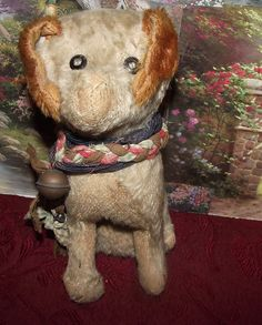 "Antique Mohair Dog Excelsior Stuffed Shoe Button Eyes 9"" Circa 1920'S 