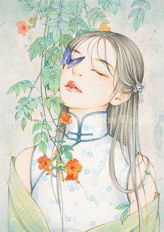 Chinese Painting, Chinese Art, Geisha Anime, Water Paint Art, Chinese Wallpaper, Asian Art, Cover Art, Art Girl, Cute Girls