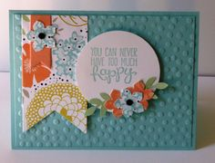 This card showcases the Petite Petals punch from Stampin' Up!'s Occasions 2014 catalog and the Sweet Sorbet Sale-a-Bration designer series paper.  For more information contact me through http://lindamadison.stampinup.net