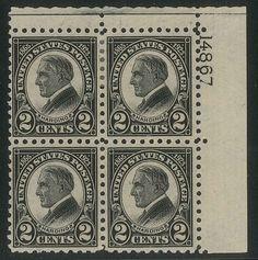 US Scott #612 Harding 2 CENT PLATE BLOCK OF 6 H OG