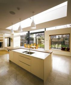 Home Remodel and Extension Project with Stunning Rear Side Design: Cozy Modern Kitchen Extension & Remodel Ideas Wooden Kitchen Island Bungalow Extensions, House Extensions, Kitchen Extensions, Kitchen Extension Ideas Ireland, Dublin, Bungalow Kitchen, Kitchen Utilities, Open Plan Kitchen, Kitchen Ideas