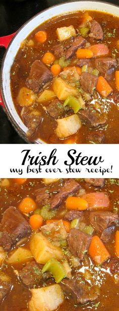 This Irish Stew is the best stew I've ever made. Flavoured with red wine and Guinness Beer. This Irish Stew is the best stew I've ever made. Flavoured with red wine and Guinness Beer. Slow Cooker Recipes, Crockpot Recipes, Soup Recipes, Cooking Recipes, Healthy Recipes, Irish Food Recipes, Stewing Beef Recipes, Recipes Dinner, Best Beef Recipes