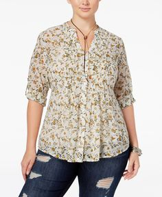 American Rag Trendy Plus Size Tie-Back Blouse, Only at Macy's