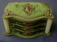 ANTIQUE VICTORIAN ONIX FILIGREE GOLDEN METAL ORNATES GREEN VELVET SEWING BOX   eBay