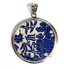 Blue Willow Birds Scene Broken China Jewelry by vbellejewelry, $98.00