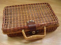 1970s Dark Brown Rattan Wicker Attache Briefcase by bycinbyhand, $30.00