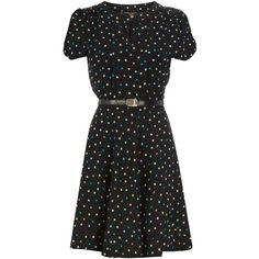 Blue spot tea dress ($39) ❤ liked on Polyvore featuring dresses, polka dot dress, blue pleated dress, chiffon dress, blue button dress and polka dot chiffon dress