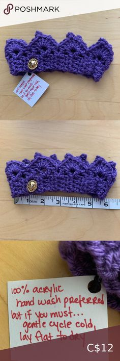 "Purple handmade baby crown DESCRIPTION The sweetest little baby crown handmade in purple yarn adorned with a sweet metallic button. Perfect for baby photos. Or just because.   SIZE: 0 to 6 months  5 1/2"" unstretched   FABRIC: 100% acrylic  CONDITION: Comes from SMOKE-FREE, CAT-FRIENDLY home 10/10: New! Other"