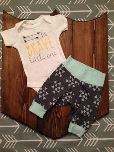 0e6244d43 Be Brave Little One !!! 2pc baby boy coming home outfit . Tribal baby set