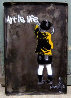 "Saatchi Online Artist: PolarBear Stencils; Paint 2013 Painting ""Sold Kid writes on wall"""