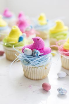 How to make Peep Cupcakes in edible grass nests for Easter!