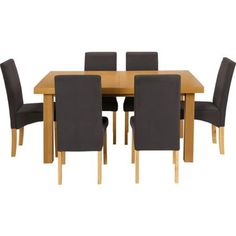 Cosgrove Extendable Oak Dining Table And 6 Charcoal Chairs At Homebase Be Inspired