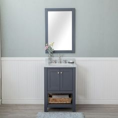 Shop for Wilmington Grey 24-inch Single Bathroom Vanity With Carrara Marble Top and No Mirror. Get free delivery at Overstock.com - Your Online Furniture Outlet Store! Get 5% in rewards with Club O! - 23832503