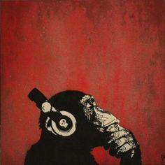 #Chimp #Stencil 80x80 cm on panel