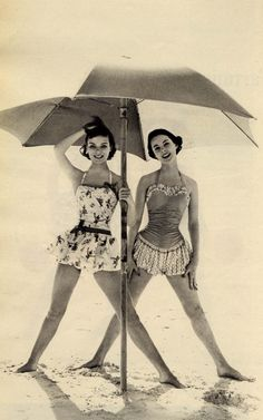 Vintage swimsuits, day at the beach