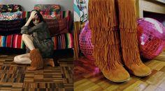 """Lara Gerin, 40 anos, stylist e DJ """"Me apaixonei por esta bota de franja da Isabella Giobbi. Já usei tanto que ela chega a estar surrada. Esta cor terrosa, assim como o tom monocromático, combina com o inverno e dá um ar chique para o look. Além do lindo balanço das franjas quando você anda, ela é superconfortável, você nem sente o salto."""""""
