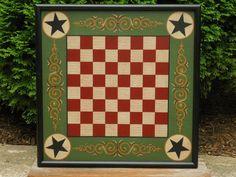 Primitive Wood Checkerboard Game Board Folk Art by JohnnyUNamath