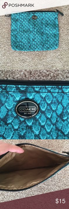 Coach Travel Bag! BRAND NEW UNUSED Scaled green Coach travel bag small, came with larger bag but good use for makeup or accessories! Never used, brand new! Xx. 💋 Coach Bags Travel Bags