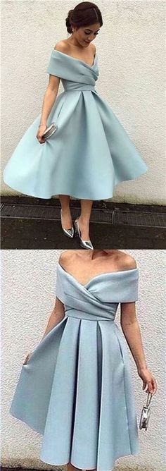 Beautiful Homecoming Dress, Off-the-shoulder Satin Short Prom Party Dress 0196 by RosyProm, $123.99 USD #beautifulpromdresses