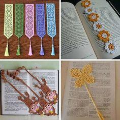 Ideias de Marcadores de Livros em Croche - http://coisasdamaria.com/ideias-de-marcadores-de-livros-em-croche/