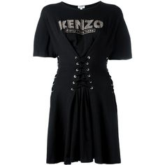 Kenzo corseted fit and flare dress ($260) ❤ liked on Polyvore featuring dresses, black, kenzo dress, bateau neck dresses, boat neck dress, boatneck dress and corset dress