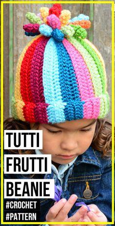 crochet Tutti Frutti Beanie pattern - easy crochet beanie pattern for beginners Easy Crochet Hat, Crochet Kids Hats, Crochet Scarves, Crochet Crafts, Crochet Clothes, Crochet Projects, Knitted Hats, Crochet Baby Poncho, Crochet Christmas Hats