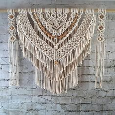 Macrame Wall Hanging for Your Home Decor, Large Fiber Art Knotted Tapestry, Beautiful Bedroom Art, Rustic Farmhouse Decoration, Valance - casa - wandkunst Macrame Design, Macrame Art, Macrame Projects, Macrame Knots, Micro Macrame, Macrame Wall Hanging Patterns, Large Macrame Wall Hanging, Hanging Wall Art, Macrame Wall Hangings