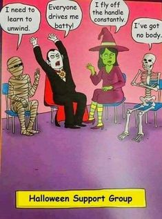 Halloween support group - Memes For Funny Halloween Humor, Halloween Cartoons, Halloween Art, Holidays Halloween, Halloween Halloween, Group Halloween, Happy Halloween Meme, Halloween Sayings, Halloween Costumes