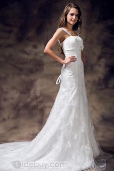 Trendy Mermaid Straps Embroidery Lace-up Floor Length Wedding Dress : Tidebuy.com