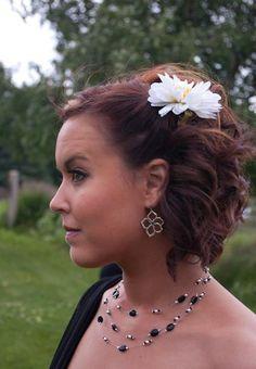 Bridesmaid half updo medium to short hair bri-bridesmaid-dresses-hair