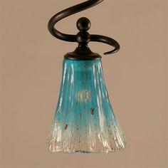 "Toltec Lighting 901-DG-725 Capri Stem Hung Mini Pendant with 5.5"" Teal Crystal Glass - Lighting Universe"