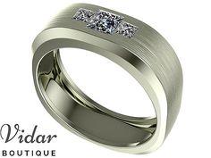 Mens Wedding Band,Unique Wedding Band,Mens Diamond Wedding Band,Princess Cut Men's Ring For Wedding,Vidar Boutique,White Gold Ring,3 Stone