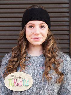 Knitted Headband, black Headband, Knit Head Wrap, Knitted Ear Warmer, Knit Hat Hair Wrap - pinned by pin4etsy.com